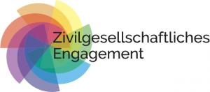 Logo Zivilgesellschaftliches Engagement: Bunte Halbkreise überlagernsich zu einer blumenähnlichen Form