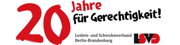 Banner 20 Jahre Lesben- und Schwulenverband Berlin-Brandenburg
