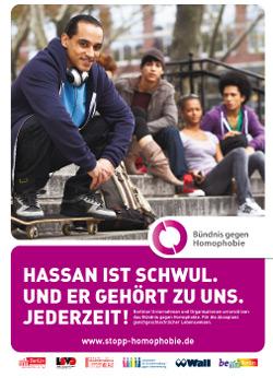 """Plakat """"Hassan ist schwul"""", PDF 1.2M  herunterladen"""